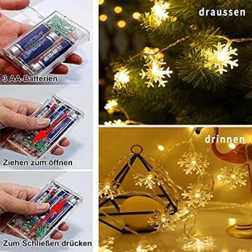 Weihnachten Schneeflocke Lichterketten, 6m 40LED Lichterkette Schneeflocken, Batteriebetriebene Dekorative Lichterkette, Weihnachtsdekoration Lichter, Garten Schlafzimmer Party Decor, Warmweiß - 2