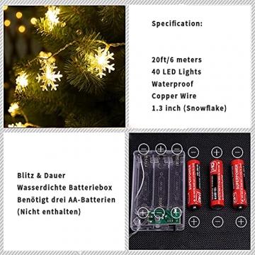 Weihnachten Schneeflocke Lichterketten, 6m 40LED Lichterkette Schneeflocken, Batteriebetriebene Dekorative Lichterkette, Weihnachtsdekoration Lichter, Garten Schlafzimmer Party Decor, Warmweiß - 3