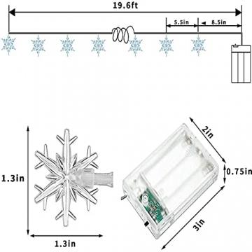 Weihnachten Schneeflocke Lichterketten, 6m 40LED Lichterkette Schneeflocken, Batteriebetriebene Dekorative Lichterkette, Weihnachtsdekoration Lichter, Garten Schlafzimmer Party Decor, Warmweiß - 4