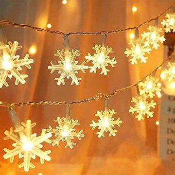 Weihnachten Schneeflocke Lichterketten, 6m 40LED Lichterkette Schneeflocken, Batteriebetriebene Dekorative Lichterkette, Weihnachtsdekoration Lichter, Garten Schlafzimmer Party Decor, Warmweiß - 1