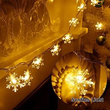 Weihnachten Schneeflocke Lichterketten, 6m 40LED Lichterkette Schneeflocken, Batteriebetriebene Dekorative Lichterkette, Weihnachtsdekoration Lichter, Garten Schlafzimmer Party Decor, Warmweiß - 5