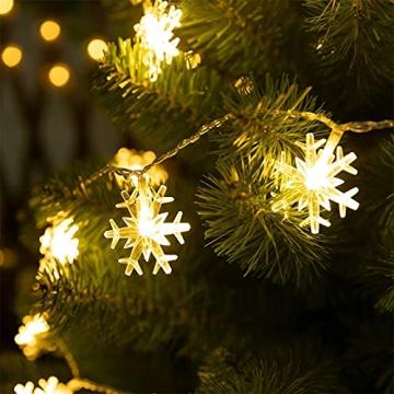 Weihnachten Schneeflocke Lichterketten, 6m 40LED Lichterkette Schneeflocken, Batteriebetriebene Dekorative Lichterkette, Weihnachtsdekoration Lichter, Garten Schlafzimmer Party Decor, Warmweiß - 6