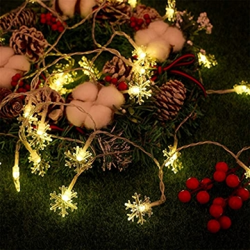 Weihnachten Schneeflocke Lichterketten, 6m 40LED Lichterkette Schneeflocken, Batteriebetriebene Dekorative Lichterkette, Weihnachtsdekoration Lichter, Garten Schlafzimmer Party Decor, Warmweiß - 7