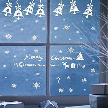 Weihnachts Schneeflocken Fensterbild Abnehmbare Fensterdeko Statisch Haftende PVC Aufkleber Winter Dekoration für Türen,Schaufenster, Vitrinen, Glasfronten - 2