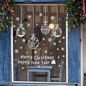Weihnachts Schneeflocken Fensterbild Abnehmbare Fensterdeko Statisch Haftende PVC Aufkleber Winter Dekoration für Türen,Schaufenster, Vitrinen, Glasfronten - 1
