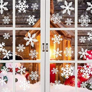 Weihnachts Schneeflocken Fensterbild Abnehmbare Fensterdeko Statisch Haftende PVC Aufkleber Winter Dekoration für Türen,Schaufenster, Vitrinen, Glasfronten - 5