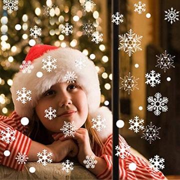 Weihnachts Schneeflocken Fensterbild Abnehmbare Fensterdeko Statisch Haftende PVC Aufkleber Winter Dekoration für Türen,Schaufenster, Vitrinen, Glasfronten - 6