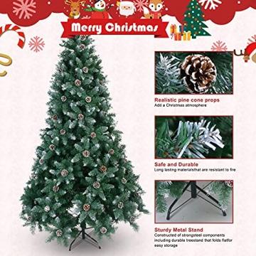 Weihnachtsbaum Künstlich 180cm / 210cm Künstlicher Weihnachtsbaum Grün Christbaum Schnellaufbau Material PVC Tannenbaum künstlich mit Metallständer für Weihnachtsdeko (Farbe B, 210cm) - 3