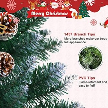 Weihnachtsbaum Künstlich 180cm / 210cm Künstlicher Weihnachtsbaum Grün Christbaum Schnellaufbau Material PVC Tannenbaum künstlich mit Metallständer für Weihnachtsdeko (Farbe B, 210cm) - 4