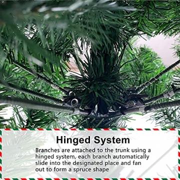 Weihnachtsbaum Künstlich 180cm / 210cm Künstlicher Weihnachtsbaum Grün Christbaum Schnellaufbau Material PVC Tannenbaum künstlich mit Metallständer für Weihnachtsdeko (Farbe B, 210cm) - 6
