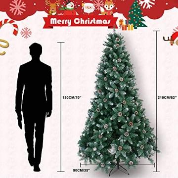 Weihnachtsbaum Künstlich 180cm / 210cm Künstlicher Weihnachtsbaum Grün Christbaum Schnellaufbau Material PVC Tannenbaum künstlich mit Metallständer für Weihnachtsdeko (Farbe B, 210cm) - 7