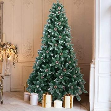 Weihnachtsbaum Künstlich 180cm / 210cm Künstlicher Weihnachtsbaum Grün Christbaum Schnellaufbau Material PVC Tannenbaum künstlich mit Metallständer für Weihnachtsdeko (Farbe B, 210cm) - 8