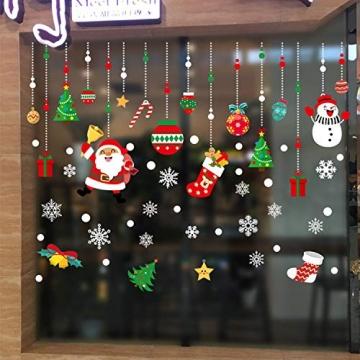 WELLXUNK Weihnachten Fenstersticker, Fensteraufkleber PVC Fensterbilder Weihnachten Fensterdeko selbstklebend Fensterfolie Weihnachtsdekoration (SR2) - 2