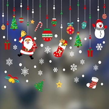 WELLXUNK Weihnachten Fenstersticker, Fensteraufkleber PVC Fensterbilder Weihnachten Fensterdeko selbstklebend Fensterfolie Weihnachtsdekoration (SR2) - 3