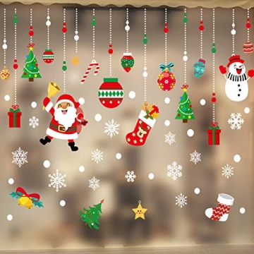 WELLXUNK Weihnachten Fenstersticker, Fensteraufkleber PVC Fensterbilder Weihnachten Fensterdeko selbstklebend Fensterfolie Weihnachtsdekoration (SR2) - 4