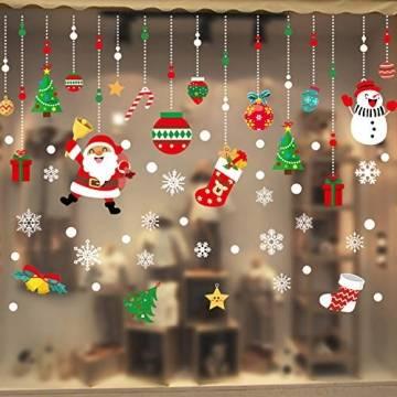 WELLXUNK Weihnachten Fenstersticker, Fensteraufkleber PVC Fensterbilder Weihnachten Fensterdeko selbstklebend Fensterfolie Weihnachtsdekoration (SR2) - 1