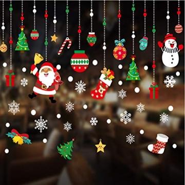 WELLXUNK Weihnachten Fenstersticker, Fensteraufkleber PVC Fensterbilder Weihnachten Fensterdeko selbstklebend Fensterfolie Weihnachtsdekoration (SR2) - 5