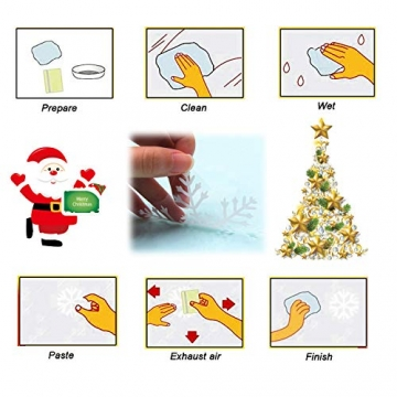 WELLXUNK Weihnachten Fenstersticker, Fensteraufkleber PVC Fensterbilder Weihnachten Fensterdeko selbstklebend Fensterfolie Weihnachtsdekoration (SR2) - 6