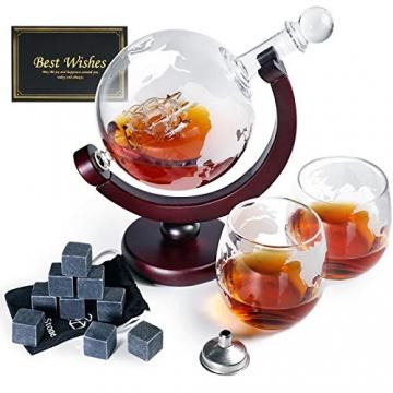Whiskeyglas, kugelförmige Whisky-Karaffe Globus Segelschiff 930 ml mit Eisstein, 2 Whiskygläser, Geschenke für Männer, Vatertagsgeschenk,jahrestag geschenk für ihn - 2