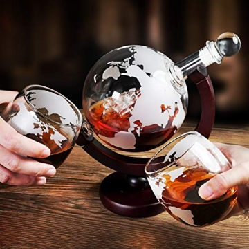 Whiskeyglas, kugelförmige Whisky-Karaffe Globus Segelschiff 930 ml mit Eisstein, 2 Whiskygläser, Geschenke für Männer, Vatertagsgeschenk,jahrestag geschenk für ihn - 3
