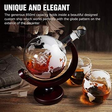 Whiskeyglas, kugelförmige Whisky-Karaffe Globus Segelschiff 930 ml mit Eisstein, 2 Whiskygläser, Geschenke für Männer, Vatertagsgeschenk,jahrestag geschenk für ihn - 4