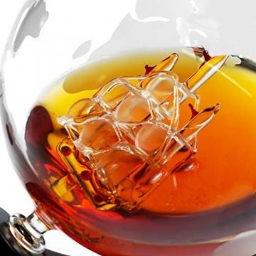 Whiskeyglas, kugelförmige Whisky-Karaffe Globus Segelschiff 930 ml mit Eisstein, 2 Whiskygläser, Geschenke für Männer, Vatertagsgeschenk,jahrestag geschenk für ihn - 6
