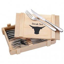 WMF Steakbesteck 12-teilig, Steakbesteck Set für 6 Personen, Steakmesser, Steakgabel, Cromargan Edelstahl poliert, Grillbesteck in Holzkiste - 1