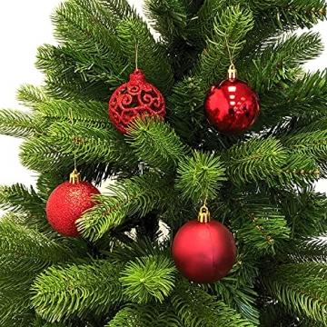 Wohaga Weihnachtskugel-Set Christbaumkugeln Baumschmuck Weihnachtsbaumschmuck Baumkugeln, Farbe:Rot, Größe:50 - 2