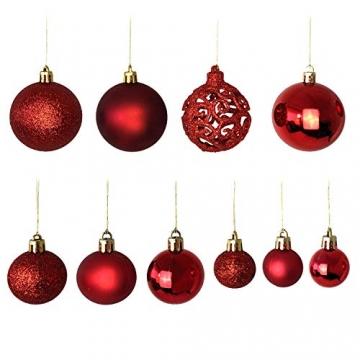 Wohaga Weihnachtskugel-Set Christbaumkugeln Baumschmuck Weihnachtsbaumschmuck Baumkugeln, Farbe:Rot, Größe:50 - 3