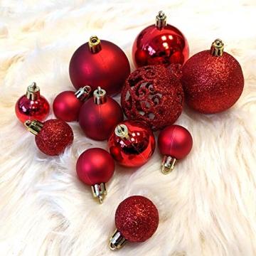 Wohaga Weihnachtskugel-Set Christbaumkugeln Baumschmuck Weihnachtsbaumschmuck Baumkugeln, Farbe:Rot, Größe:50 - 4