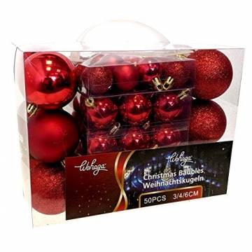 Wohaga Weihnachtskugel-Set Christbaumkugeln Baumschmuck Weihnachtsbaumschmuck Baumkugeln, Farbe:Rot, Größe:50 - 1