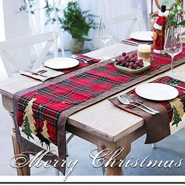 WREWING Tischtuch für Weihnachten, Weihnachtsbaum-Tischläufer und Hirschtisch-Läufer für Familienweihnachten Weihnachtstischdekoration Weihnachtsdinner Party Dekor (Baum und Hirsch) - 2