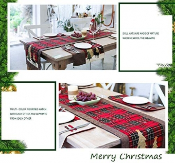 WREWING Tischtuch für Weihnachten, Weihnachtsbaum-Tischläufer und Hirschtisch-Läufer für Familienweihnachten Weihnachtstischdekoration Weihnachtsdinner Party Dekor (Baum und Hirsch) - 3