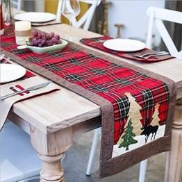WREWING Tischtuch für Weihnachten, Weihnachtsbaum-Tischläufer und Hirschtisch-Läufer für Familienweihnachten Weihnachtstischdekoration Weihnachtsdinner Party Dekor (Baum und Hirsch) - 1