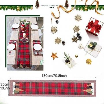 WREWING Tischtuch für Weihnachten, Weihnachtsbaum-Tischläufer und Hirschtisch-Läufer für Familienweihnachten Weihnachtstischdekoration Weihnachtsdinner Party Dekor (Baum und Hirsch) - 4