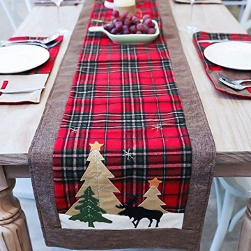 WREWING Tischtuch für Weihnachten, Weihnachtsbaum-Tischläufer und Hirschtisch-Läufer für Familienweihnachten Weihnachtstischdekoration Weihnachtsdinner Party Dekor (Baum und Hirsch) - 5