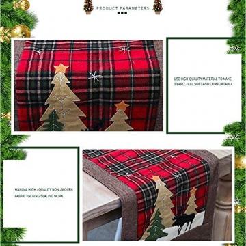 WREWING Tischtuch für Weihnachten, Weihnachtsbaum-Tischläufer und Hirschtisch-Läufer für Familienweihnachten Weihnachtstischdekoration Weihnachtsdinner Party Dekor (Baum und Hirsch) - 6