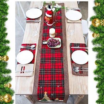 WREWING Tischtuch für Weihnachten, Weihnachtsbaum-Tischläufer und Hirschtisch-Läufer für Familienweihnachten Weihnachtstischdekoration Weihnachtsdinner Party Dekor (Baum und Hirsch) - 7