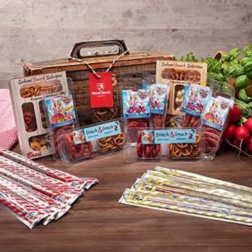 WURSTBARON® - Wurst Geschenk Koffer - mit 24 besondere Salami und Wurst Snacks - Brezen, Herzen, Sterne, Pikanten und vieles mehr - 790 g - 1