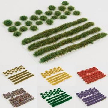 WWS Sommer Selbstklebende Streifen und Büschel Set aus 2mm, 4mm oder 6mm Statische Grasfasern (4mm) - 3