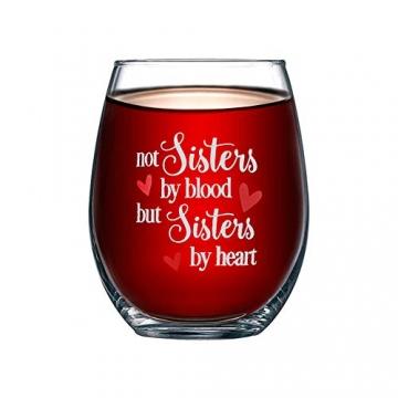 Yalucky Weingläser mit Nicht Schwestern aus Blut, sondern Schwestern auswendig lustige Sprüche Beste Freundin Geburtstagsgeschenke für Frauen weibliches Mädchen Wein Liebe Geschenkidee - 2