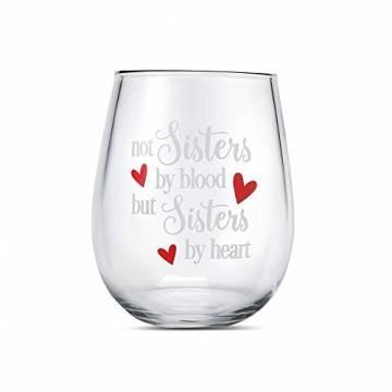 Yalucky Weingläser mit Nicht Schwestern aus Blut, sondern Schwestern auswendig lustige Sprüche Beste Freundin Geburtstagsgeschenke für Frauen weibliches Mädchen Wein Liebe Geschenkidee - 1