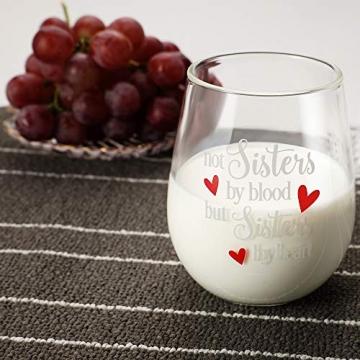 Yalucky Weingläser mit Nicht Schwestern aus Blut, sondern Schwestern auswendig lustige Sprüche Beste Freundin Geburtstagsgeschenke für Frauen weibliches Mädchen Wein Liebe Geschenkidee - 5