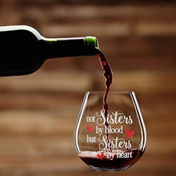 Yalucky Weingläser mit Nicht Schwestern aus Blut, sondern Schwestern auswendig lustige Sprüche Beste Freundin Geburtstagsgeschenke für Frauen weibliches Mädchen Wein Liebe Geschenkidee - 8