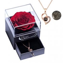 Yamonic Echte Rose mit Liebe Sie Halskette Schmuck Geschenk für sie, Ewige Liebe Rose zum Valentinstag Muttertag Jubiläum Geburtstags Geschenk Geschenk für Frauen, Freundin, Frau, Mutter - Rot - 1