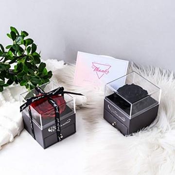 Yamonic Echte Rose mit Liebe Sie Halskette Schmuck Geschenk für sie, Ewige Liebe Rose zum Valentinstag Muttertag Jubiläum Geburtstags Geschenk Geschenk für Frauen, Freundin, Frau, Mutter - Rot - 6
