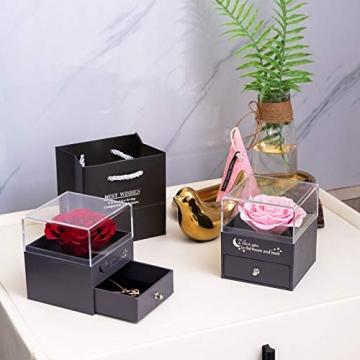 Yamonic Echte Rose mit Liebe Sie Halskette Schmuck Geschenk für sie, Ewige Liebe Rose zum Valentinstag Muttertag Jubiläum Geburtstags Geschenk Geschenk für Frauen, Freundin, Frau, Mutter - Rot - 7