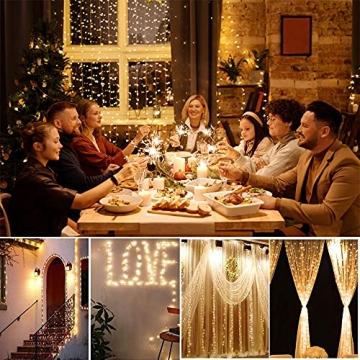 Yizhet Lichtervorhang 3x3m LED Lichterkette LED Lichterkettenvorhang mit 8 Modi, 300LEDs, IP65 Wasserdicht Deko für Weihnachten, Partydekoration, Innenbeleuchtung (Warm White) - 5