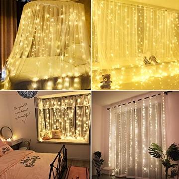 Yizhet Lichtervorhang 3x3m LED Lichterkette LED Lichterkettenvorhang mit 8 Modi, 300LEDs, IP65 Wasserdicht Deko für Weihnachten, Partydekoration, Innenbeleuchtung (Warm White) - 6
