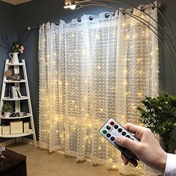 Yizhet Lichtervorhang 3x3m LED Lichterkette LED Lichterkettenvorhang mit 8 Modi, 300LEDs, IP65 Wasserdicht Deko für Weihnachten, Partydekoration, Innenbeleuchtung (Warm White) - 7